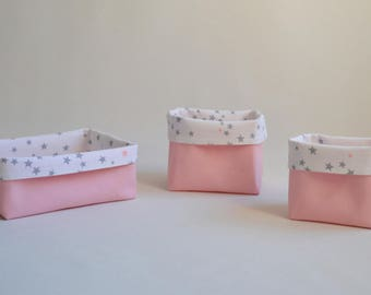 Set of 3 storage baskets / dish cloth / basket in pink and white with grey stars