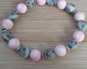 Grey/pink polymer clay bracelet