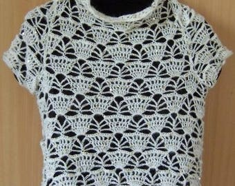 Summer sweater sequins white gold