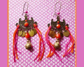 Bronze ethnic roaming orange pink fuchsia earrings