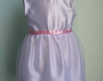 Satin and white tulle dress