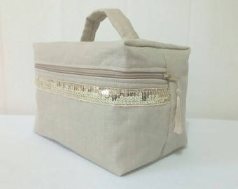 Toiletry / vanity case quilted natural linen
