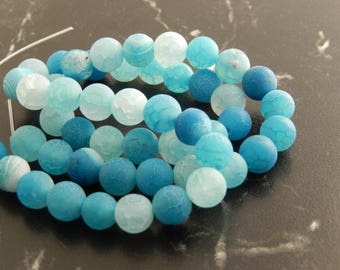 10 turquoise frosted Agate, 8mm beads