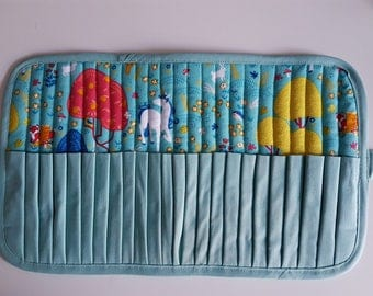 Case pencils or markers, 24 compartments unicorns fabric, fully lined, neat work