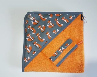 """Together hooded towel and washcloth, thick Terry cloth and orange """"Foxes""""."""