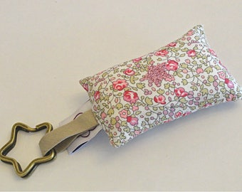 Keychain fabric Liberty Eloise ring in STOCK star cushion
