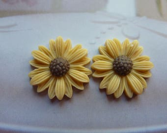 2 cabochons in the shape of 2 cm beige daisy flowers