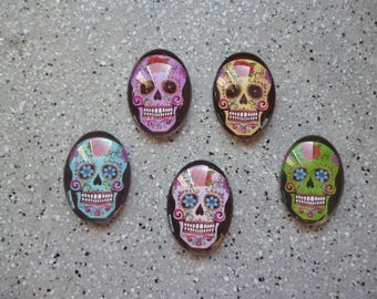 Lot de 5 Cabochons ovales illustrés tête de mort en verre 18x25 mm, image collée à l'arrière du cabochon en verre, accessoires bijoux