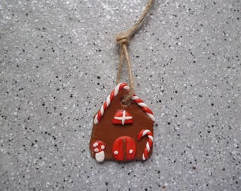 1 home for Christmas tree to hang or stick 25 x 30 mm Fimo