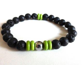 Mens lava stone and hematite bracelet