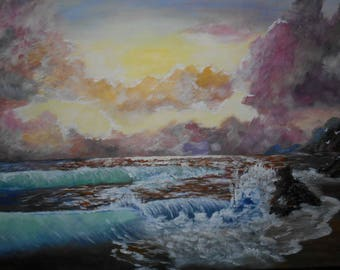 painted in acrylics entitled wave