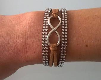 Brown suede infinity bracelet