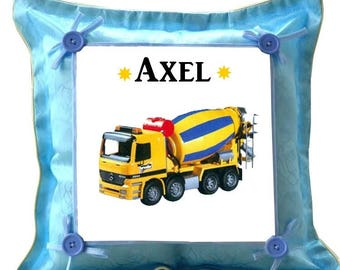 Blue pillow top truck personalized with name