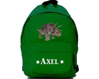 Green dinosaur backpack personalized with name