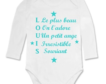 Bodysuit adjectives forming the name personalized with name