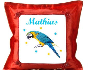 Red pillow Parrot personalized with name