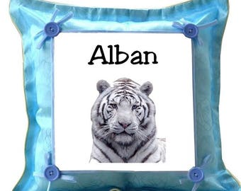 Cushion blue white tiger personalized with name