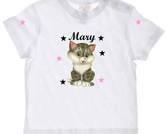 tee shirt baby kitten personalized with name