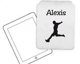 Tablet case personalized with name football player pc