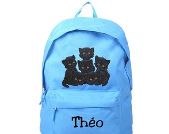 black cats blue backpack personalized with name