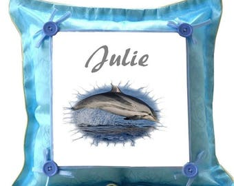 Blue Dolphin pillow personalized with name