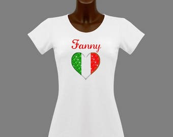 White women Italy t-shirt personalized with name