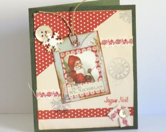 card greeting, Christmas, vintage mother of Pearl buttons and label