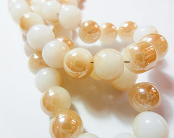 36 6mm two-tone white and champagne gold glass beads