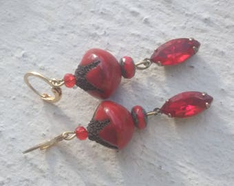 Earrings: Ceramic and Red rhinestones