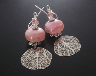 Earrings - pink and silver - glass Lampwork