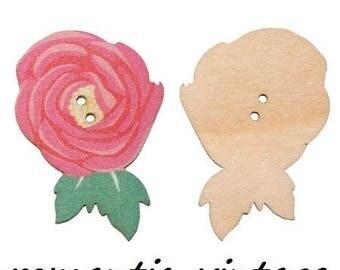large vintage pink fine wooden 5 stunning spirit buttons