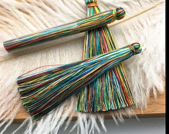 2 large tassels cotton silk multicolored 65mm