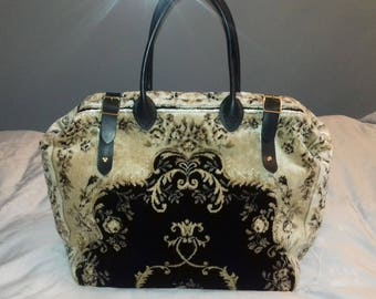 Handmade Weekend/Overnight Black/Gold Plush Persian style Carpet Bag/Mary Poppins/Doctor Bag