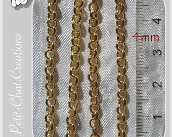 1 M CHAIN 4MM LINK METAL DORE * O156