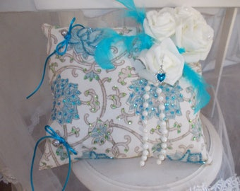 turquoise and ivory ring bearer pillow Princess