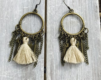 Hoop earrings with tassel earrings