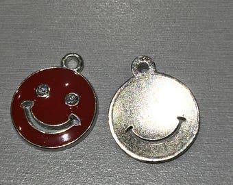 Smiley + 2 rhinestone red enamel