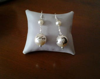 pearls inscription coconut earrings