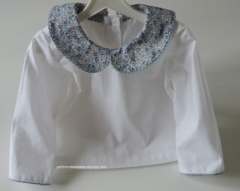 Small blouse Peter Pan collar with fabric cotton & Liberty (blue Eloise)
