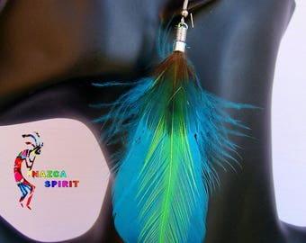 Native American dangle Turquoise, Apple green and Iridescent green feathers