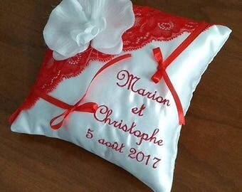 With embroidery and Red lace wedding ring bearer pillow