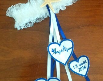 Personalized with your names and custom wedding garter