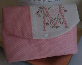 "Shabby case ""M"" Monogram""embroidery cross stitch"