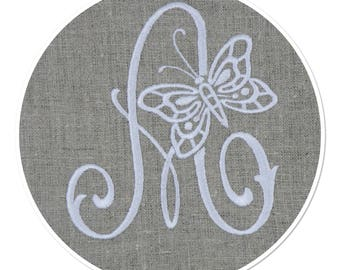 EMBROIDERED LETTER MONOGRAM - A - BUTTERFLY WHITE ON NATURAL FINE LINEN THREAD