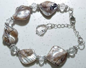 """Bora Bora"" large Crystal bracelet Keshis, Swarovski Crystal and Tibetan style findings."