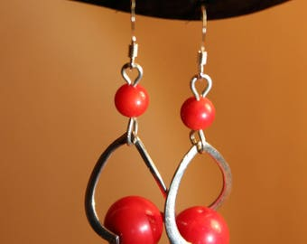 Earrings 925 sterling silver and Red coral beads