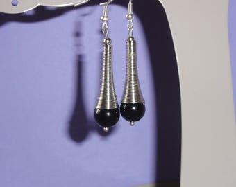 Earrings silver trumpets and black glass beads