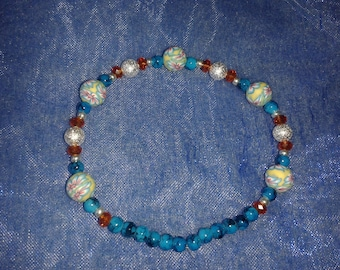 Spirit Folklo flowers orange and turquoise bracelet