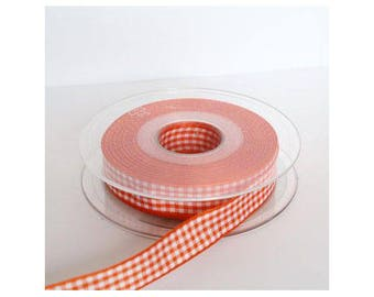15mm Orange sold by the yard - 001091 gingham Ribbon