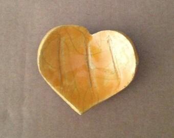 Yellow heart dish - empty - candle - Pocket - raku ceramic - tea bag rests turquoise (13)